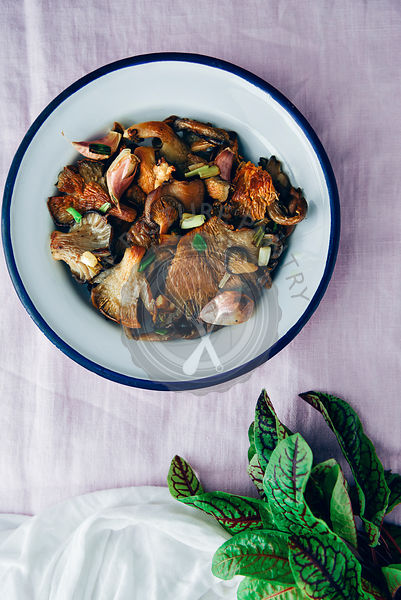 Fried oyster mushrooms served in a white bowl on a light pink background photographed from top view. Herbs accompany on the s...
