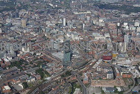 Manchester looking from Great Jackson Street and Deansgate Railway station area of south Manchester Gateway towards Piccadill...