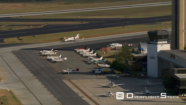 Aerial view of executive jet parking.