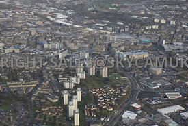 Bradford aerial photograph of A641 Manchester Road looking towards Bradford city centre and the new Westfield Broadway shoppi...