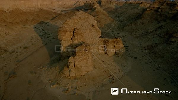 Aerial wide angle shot huge rock formations in desert terrain Fish River Canyon Namibia