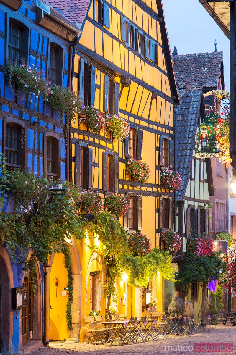 Night in the streets of Riquewihr, Alsace, France