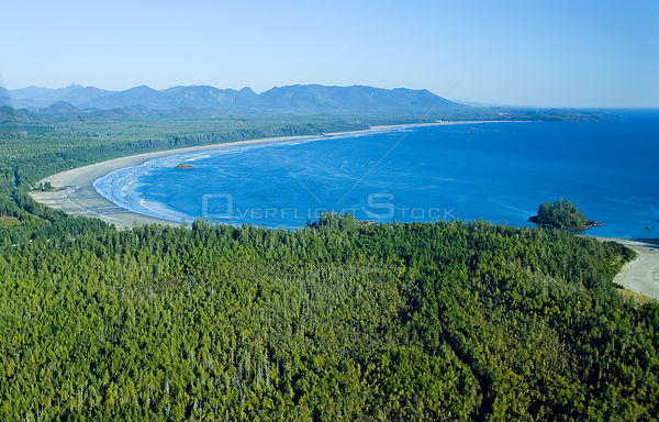 Aerial view of Long Beach, Pacific Rim National Park, Vancouver Island, British Columbia, Canada