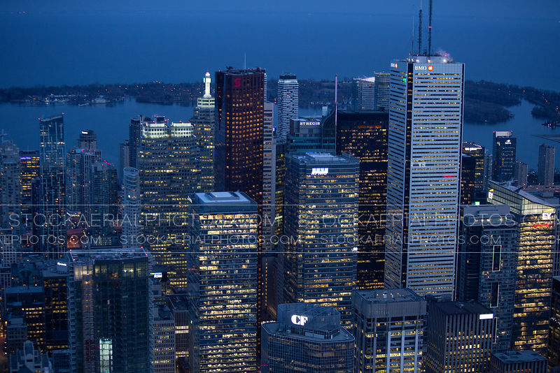 Toronto's Financial District at night