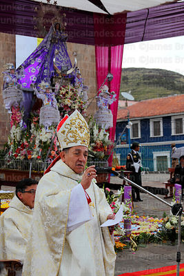 Bishop of Puno Jorge Carrion Pablisch during central mass for Virgen de la Candelaria festival, Puno, Peru
