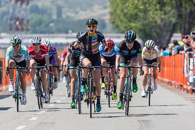 Mia Manganello (Visit Dallas DNA Pro Cycling) takes stage 2 of the San Dimas Stage Race in front of  the Hagens Berman Superm...