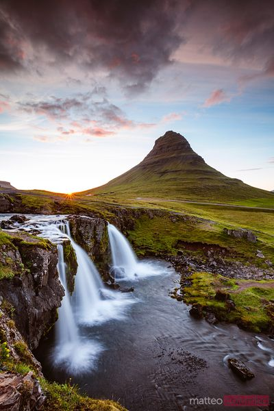 Iconic Kirkjufell and waterfalls at sunset, Snaefellsnes, Iceland