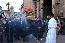 Santo Sepulcro / Crucified Christ outside La Merced church at start of Good Friday procession , Cusco , Peru