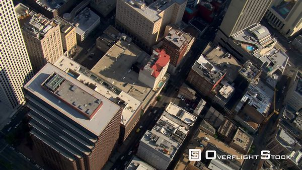 Slow, close flight over New Orleans skyscrapers