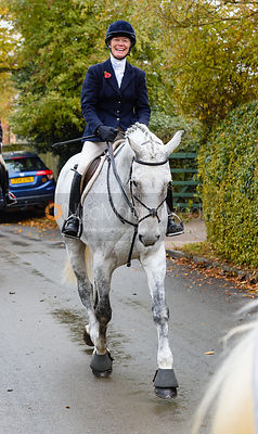 Juliet Cursham leaving the meet. The Cottesmore Hunt at Braunston
