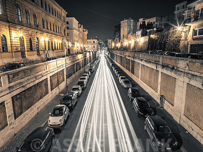 Strip Lights on road, Rome, Italy