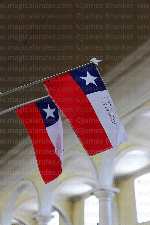 Flags to show support for miners trapped inside the San José mine by a tunnel collapse on 5th August 2010 , San Vicente churc...