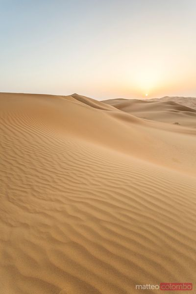 Sand dunes desert at sunrise, Abu Dhabi, Emirates