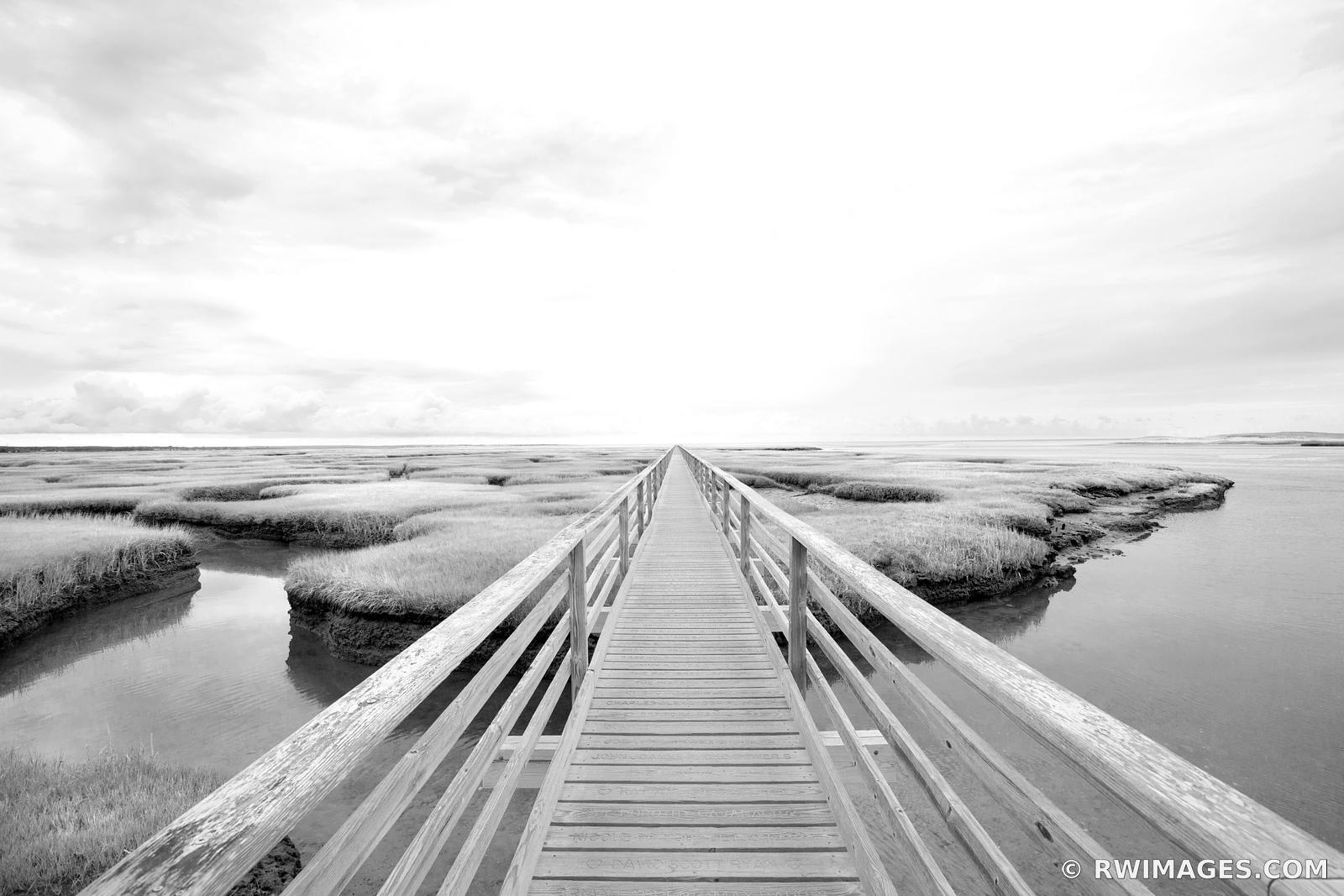 BASS HOLE BOARDWALK GRAYS BEACH YARMOUTH CAPE COD MASSACHUSETTS BLACK AND WHITE