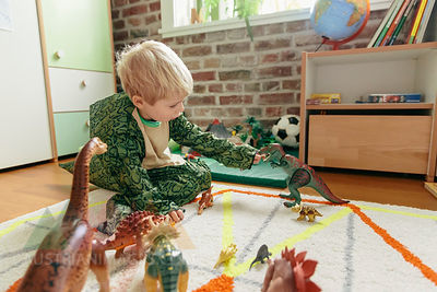 Little boy wearing dinosaur costume playing with toy dinosaurs