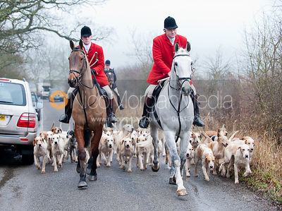 Huntsman Neil Coleman, Whip Joe Tesseyman and the Cottesmore Hounds