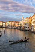 Gondola ride at sunset on the Grand Canal, Venice, Italy