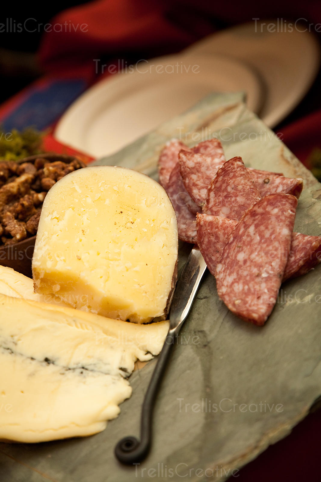 A meat and cheese platter is a necessary appetizer in wine country