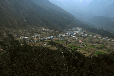 NEPAL Lukla -- 16 Apr 2005 -- Aerial photograph of Lukla, the gateway by air to the Solu Khumbu region and Mount Everest.