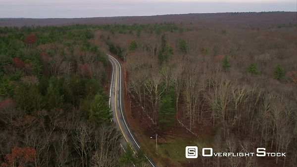Following a Highway Through a Forest West of Providence, Rhode Island. Shot in November