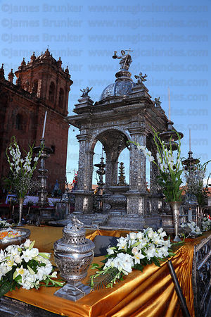 Silver Custodia and cathedral , Corpus Christi festival , Cusco , Peru
