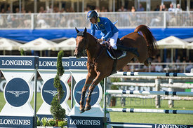 Christian Ahlmann riding Epleaser van't Heike at the Longines Global Championstour Grandprix in Hamburg