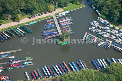 Aerial view of canal barges