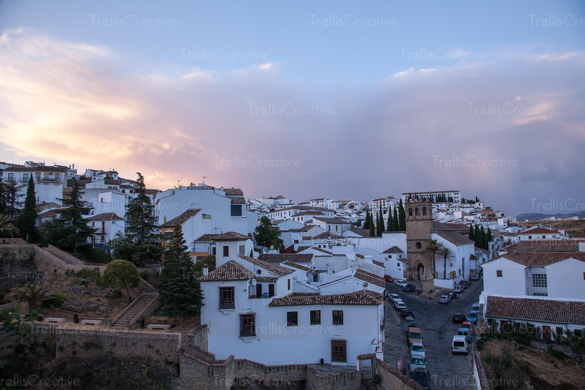 Typical houses in the historic center of Ronda, Malaga, Spain