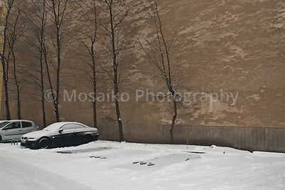 car wall and snow