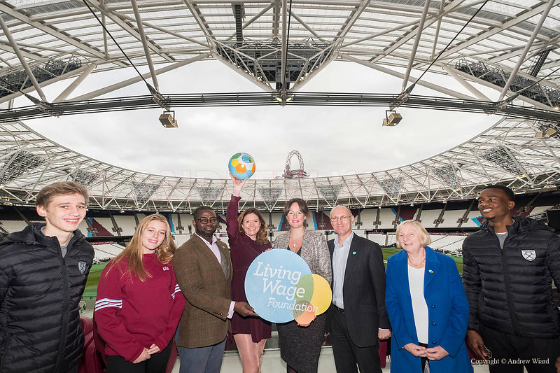 England, UK . 5.12.2017. London . Olympic Stadium. West Ham United celebrate accreditation as a London living wage employer.