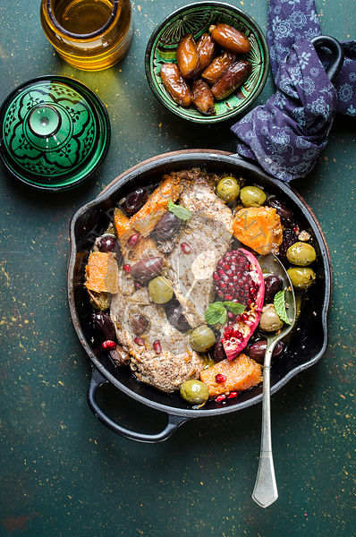Chicken and pumpkin tagine with olives and pomegranade
