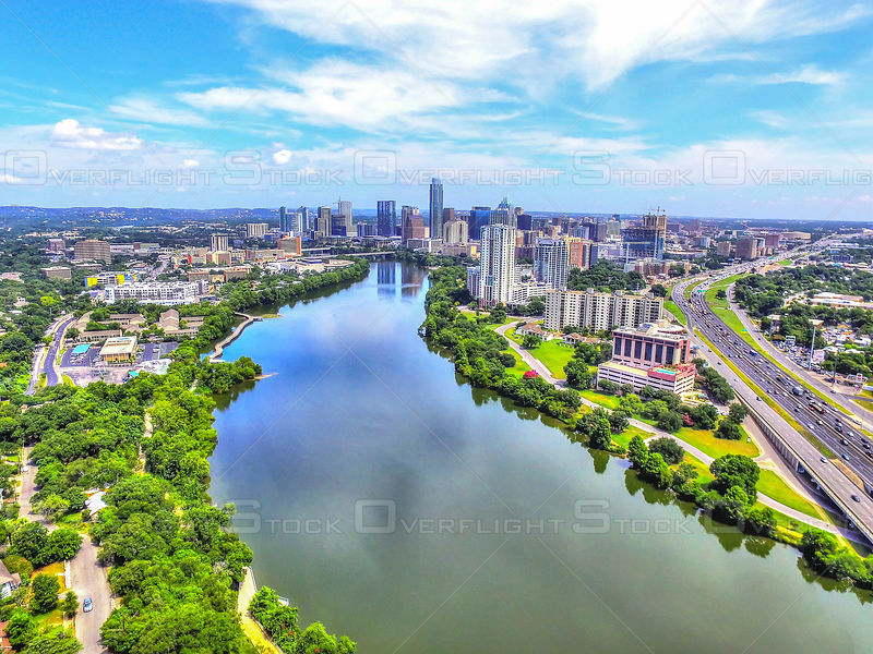 Ladybird Lake and Austin Texas Skyline USA