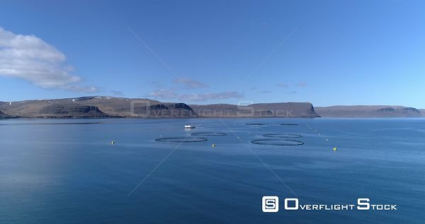 Aerial Flying Over Icelandic Ocean Fish Farm Pens, West Fjords Iceland