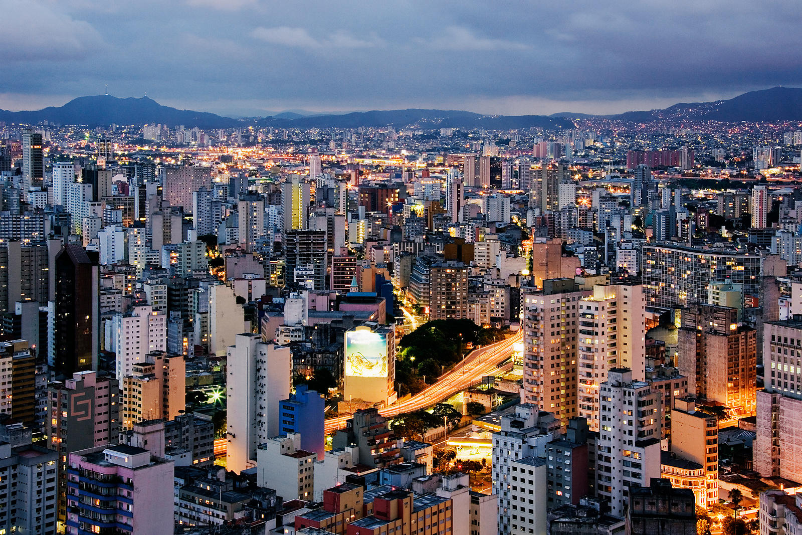Brazil, Sao Paulo, cityscape, elevated view, dusk
