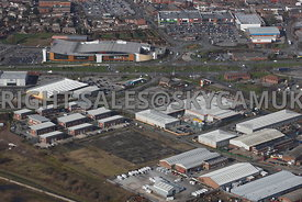 Widnes aerial photograph of a Brownfield site off of Dennis Road near B & Q looking towards Ashley Retail Park and Ashley Way