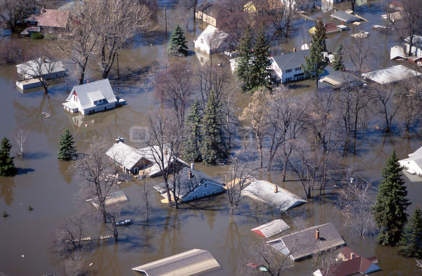 Aerial view of flooded town, Grand Forks, North Dakota USA.April 1997