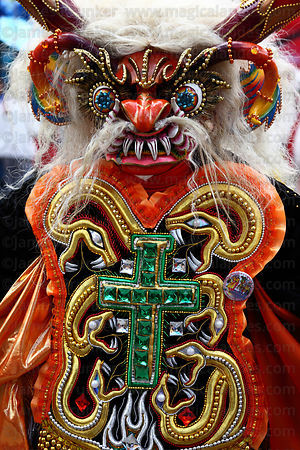 Portrait of Diablada devil dancer, Oruro Carnival, Bolivia