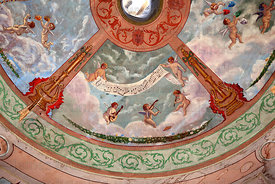 Detail of painting on ceiling inside historic Municipal Theatre , Pisagua , Region I , Chile
