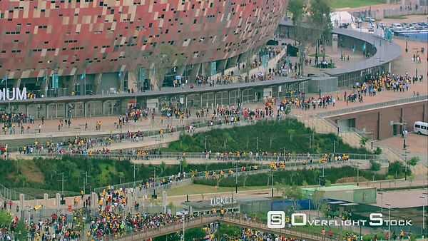 Aerial shot of people entering FNB Stadium (Soccer City). Johannesburg Gauteng South Africa