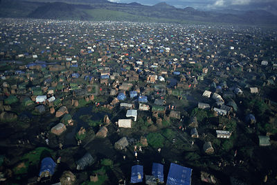 Aerial of Kibumba refugee camp, where over 200,000 Rwandan Hutu refugees were residing in 1994.