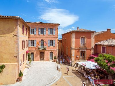 High angle view of the main square in the old town, Roussillon, France