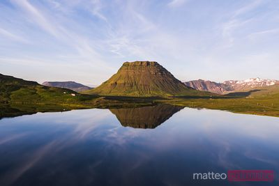 Aerial drone view of Kirkjufell at sunset, Snaefellsnes, Iceland