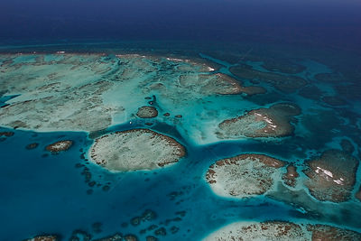 Aerial view of southern Belize barrier reef near Placencia, showing reef bend at Gladden Spit, Gladden Spit and Silk Cayes Ma...