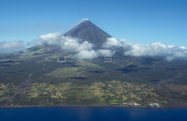 Aerial view of Mayon Volcano and the coast, .Bohol, Philippines