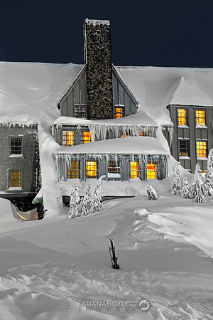 Timberline lodge on winter night; Oregon, U.S.A.
