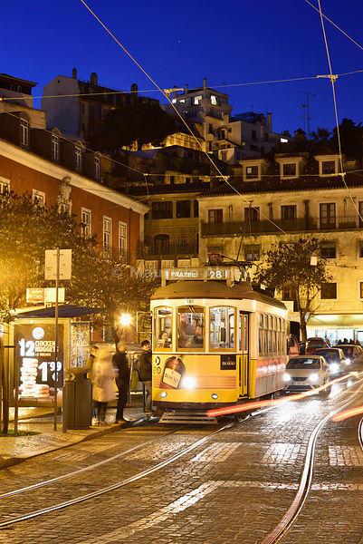 The famous tramway number 28 in Alfama and Castelo districts. Lisbon, Portugal
