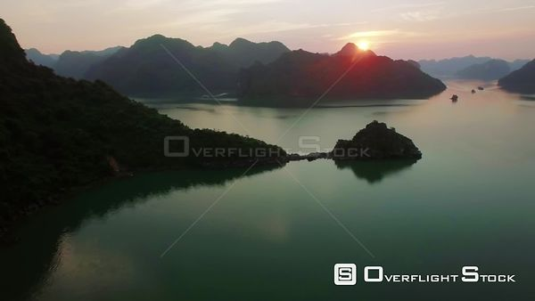 Cruise Ship at Sunset in Ha Long Bay Vietnam