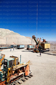 Disused power shovel and mining machinery on display near Chuquicamata mine, Region II, Chile