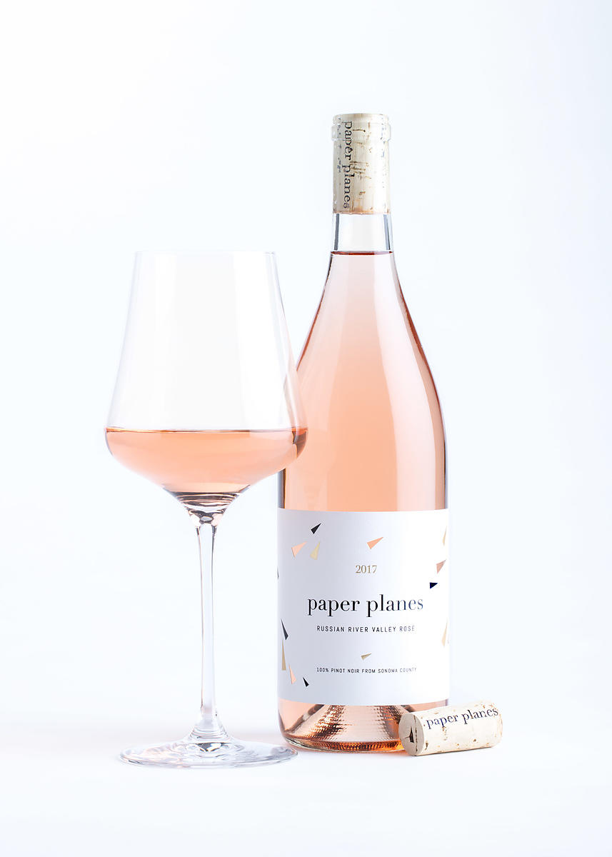 Styled wine bottle photography for Paper Planes wine company in Sonoma County, California