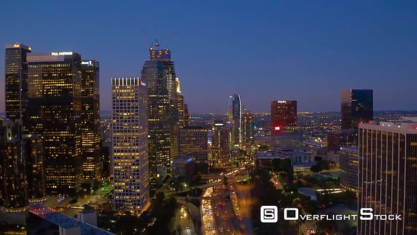 Downtown Los Angeles Aerial Night Buildings With Lights With Traffic California